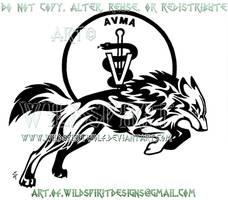 Veterinary Shield Tribal Wolf Design by WildSpiritWolf