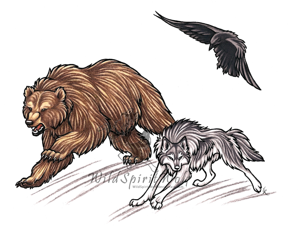 Lineart Wolf Tattoo : Bear wolf and raven commish by wildspiritwolf on deviantart