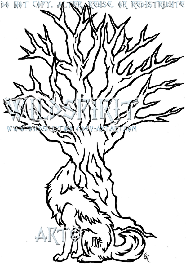 Wolf And Tree Myaku Tattoo by WildSpiritWolf