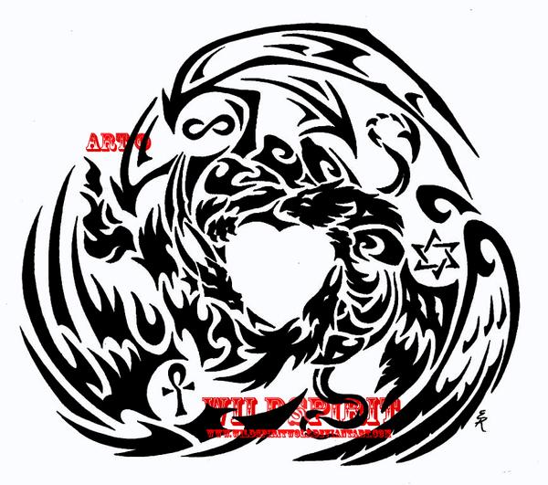 Dragon Griffon Phoenix Tattoo by WildSpiritWolf
