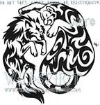 Wolf And Cougar YinYang Tattoo