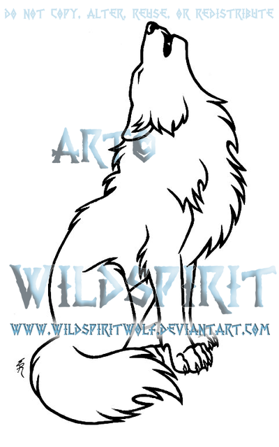 Lineart Wolf Tattoo : Sitting howling wolf lineart by wildspiritwolf on deviantart