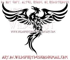 Rising Phoenix Tribal Design by WildSpiritWolf