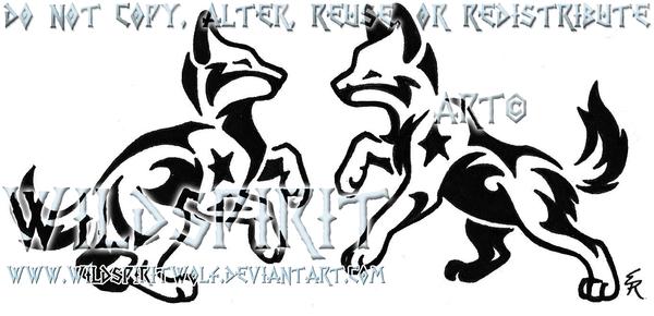 Playful Starry Pups Tattoo by WildSpiritWolf