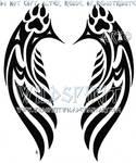 Pawprint Tribal Wings Tattoo