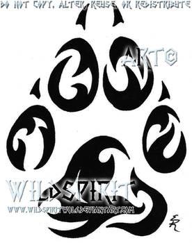 Tribal Paw Memorial Tattoo