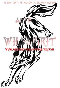Rebellious Tribal Wolf Tattoo