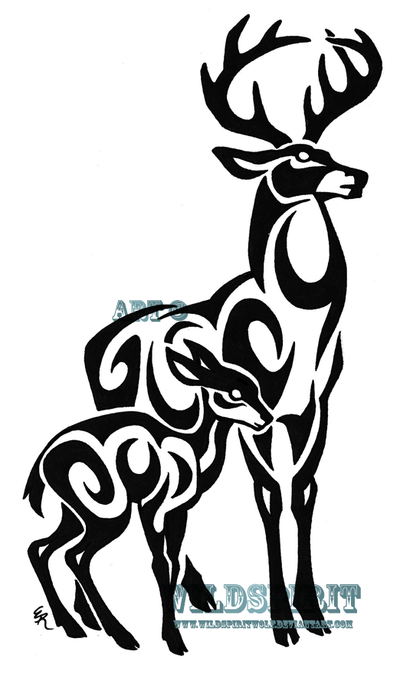 tribal wolf tattoos. Tribal Stag And Fawn Tattoo by