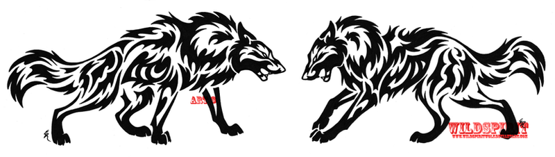 tribal wolf tattoos. Tribal Wolf Face Off Tattoo by