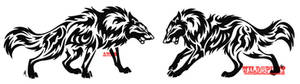 Tribal Wolf Face Off Tattoo Set