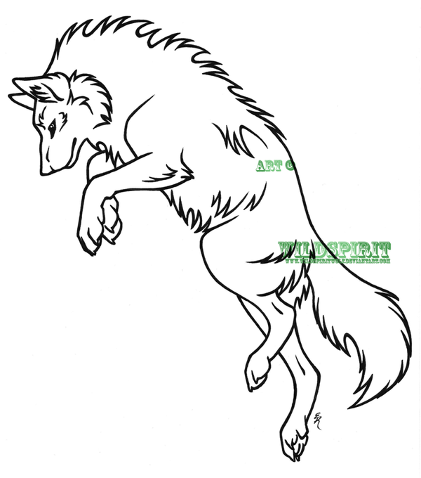 Lineart Wolf Tattoo : Leaping wolf lineart by wildspiritwolf on deviantart