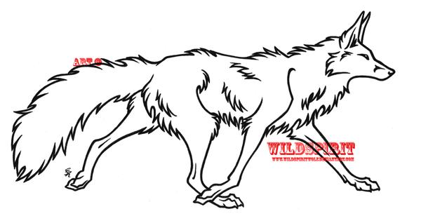 Line Drawing Fox : Walking fox lineart by wildspiritwolf on deviantart