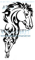 Horse And Wolf Tribal Tattoo
