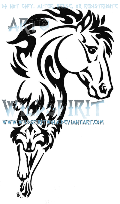 Horse And Wolf Tribal Tattoo By Wildspiritwolf On Deviantart