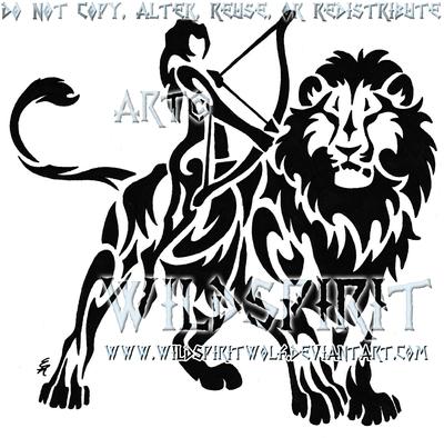 leo and sagittarius tattoo by wildspiritwolf on deviantart. Black Bedroom Furniture Sets. Home Design Ideas