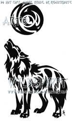 Celestial Moon Wolf Tattoo