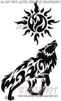 Celestial Sun Wolf Tattoo by WildSpiritWolf