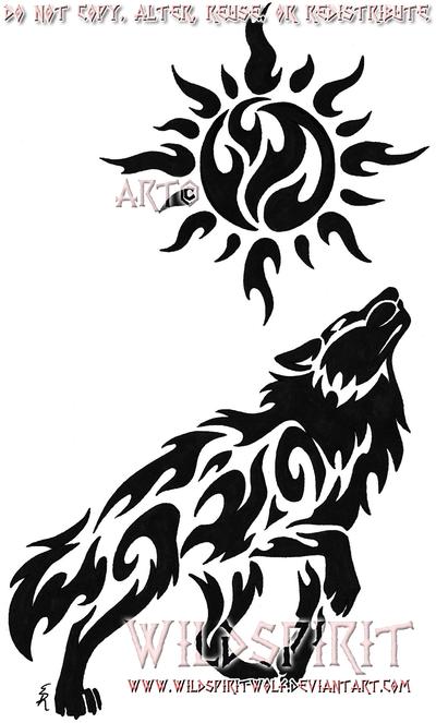 Lineart Wolf Tattoo : Celestial sun wolf tattoo by wildspiritwolf on deviantart