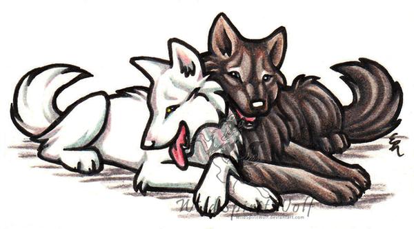 Larka White Wolf And Friend by WildSpiritWolf