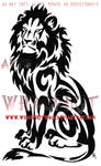 Seated Tribal Lion Tattoo