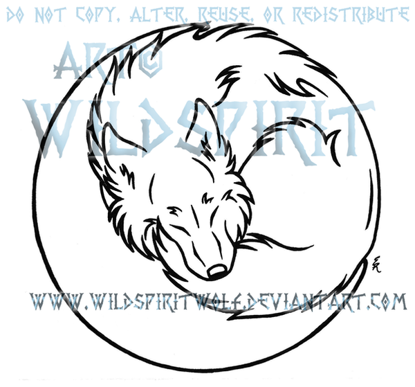Lineart Wolf Tattoo : Wolf in moon lineart by wildspiritwolf on deviantart