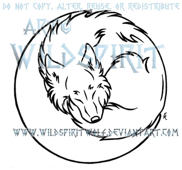Lineart Wolf Tattoo : Wolf in moon lineart by wildspiritwolf on deviantart
