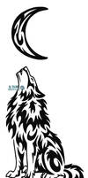 Lonely Wolf And Moon Tattoo