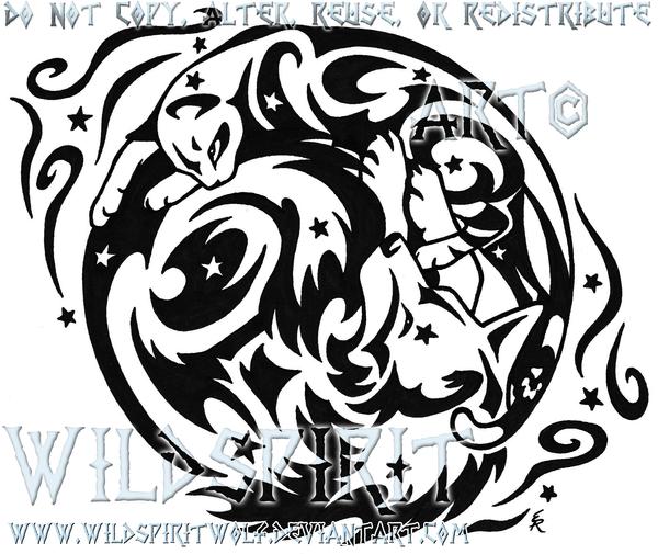 starry cat and wolf tattoo by wildspiritwolf on deviantart. Black Bedroom Furniture Sets. Home Design Ideas