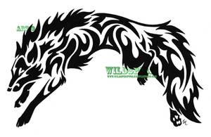 Leaping Wolf-Fox Tribal Tattoo by WildSpiritWolf