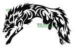 Leaping Wolf-Fox Tribal Tattoo