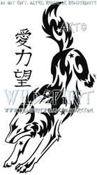 Starry Wolf And Kanji Tattoo by WildSpiritWolf