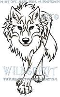 Blue-Eyed Stalking Wolf Tattoo by WildSpiritWolf
