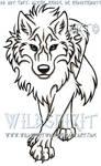 Blue-Eyed Stalking Wolf Tattoo