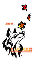 Autumn Leaves Wolf Tattoo by WildSpiritWolf