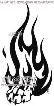 Wolf Paw Flame Tattoo