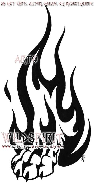 Wolf Paw Logo Flame Tribal Wolf Paw Tattoo