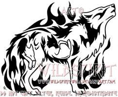Flaming Emotion Wolf Tattoo by WildSpiritWolf