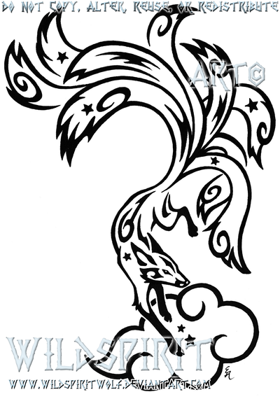 Ninetails Tribal Tattoo [Remix] by Skrayle on DeviantArt |Tribal Nine Tailed Fox Tattoos