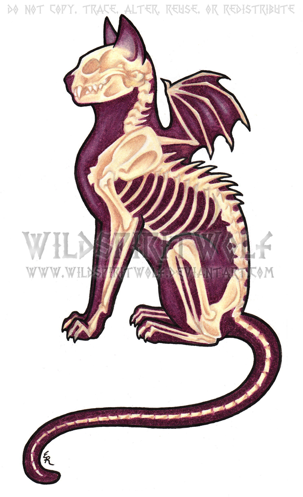 Death Cat Color Tattoo by WildSpiritWolf