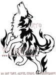 Flame Husky Tribal Tattoo