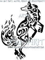 Dancing Fox Wind Tribal Tattoo by WildSpiritWolf