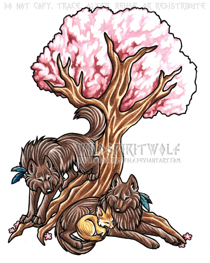 Wolves And Fox Tree Tattoo
