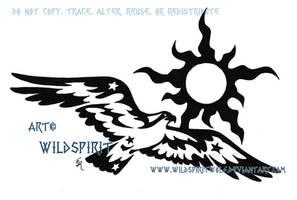 Tribal Osprey And Sun Tattoo by WildSpiritWolf