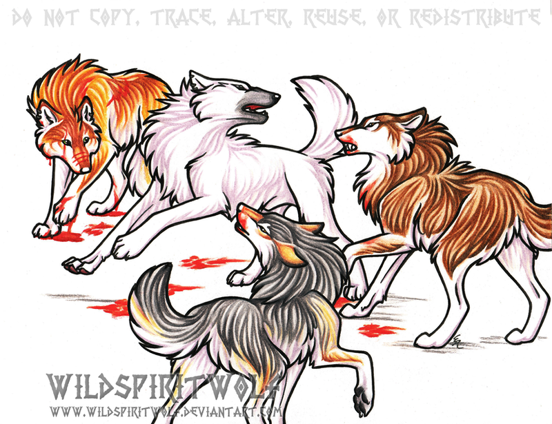 Think Twice Wolf Fight Commish by WildSpiritWolf