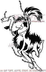 Chained Wolf Tribal Tattoo by WildSpiritWolf
