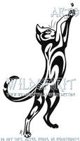 Cat And Fly Tribal Tattoo