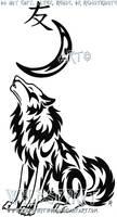 Wolf Moon And Kanji Tattoo by WildSpiritWolf