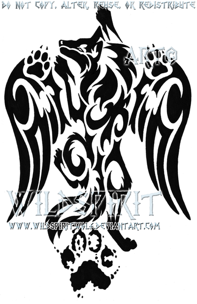 pawprint winged wolf tattoo by wildspiritwolf on deviantart. Black Bedroom Furniture Sets. Home Design Ideas