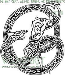 Thor + Midgard Serpent Tattoo by WildSpiritWolf