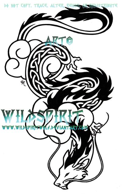 celtic cloud dragon tattoo by wildspiritwolf on deviantart. Black Bedroom Furniture Sets. Home Design Ideas